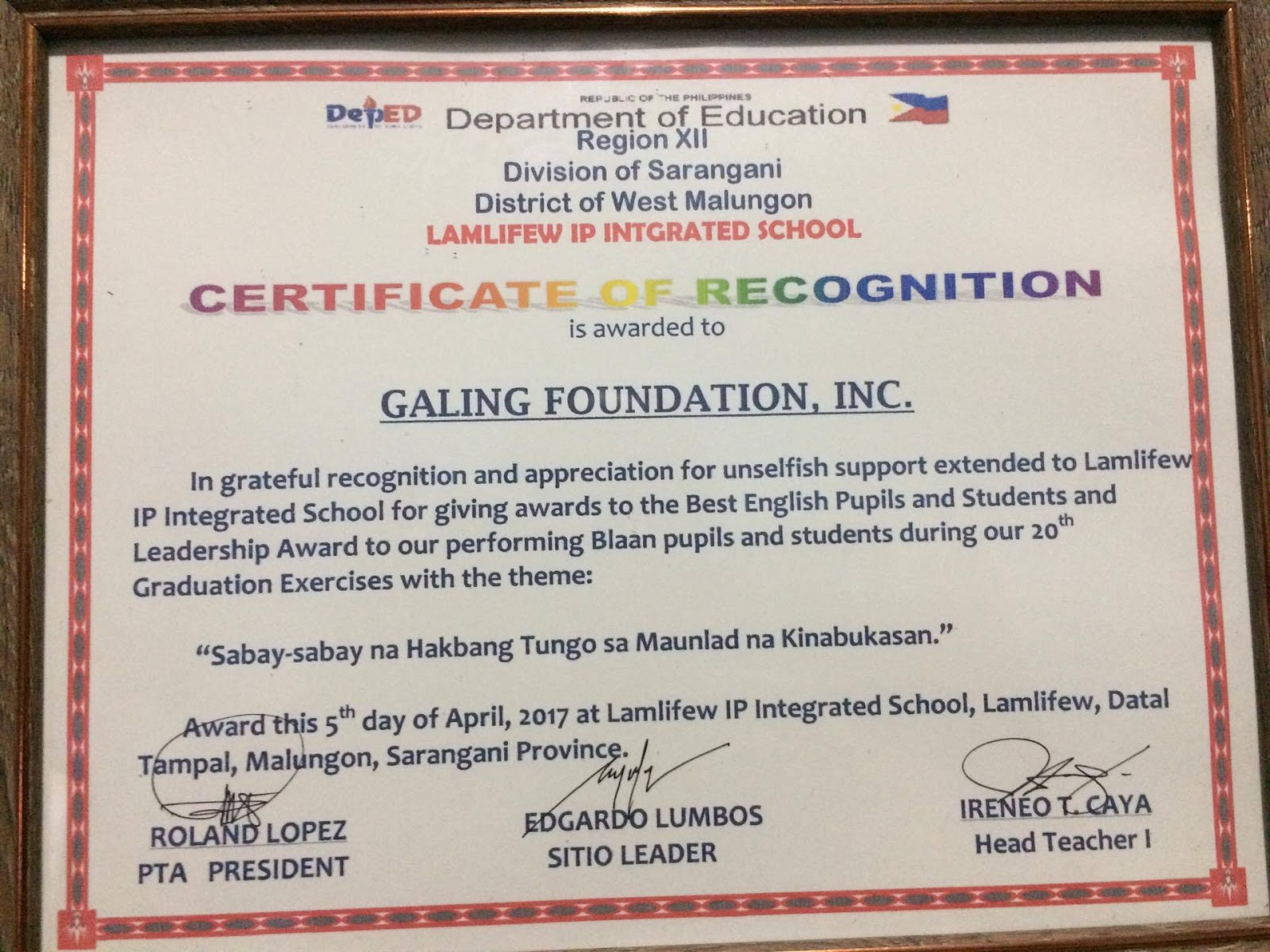 Galing foundation inc mindanao outreach certificate of she also received the certificate of recognition from the school for gfi yadclub Gallery