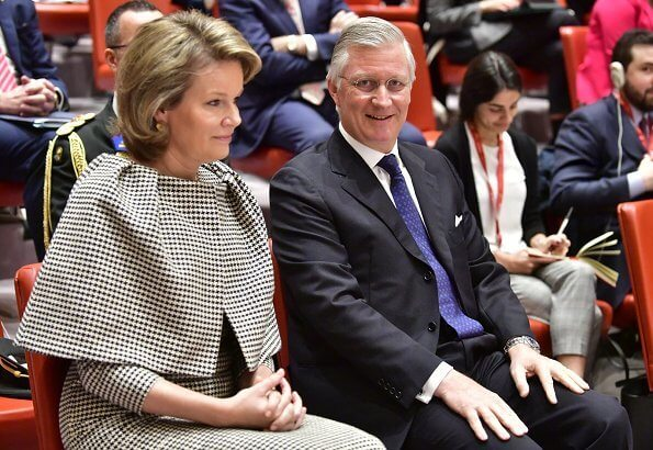 Queen Mathilde wore a floral-print crepe maxi dress by Dries van Noten. King Philippe and Queen Mathilde attended the briefing