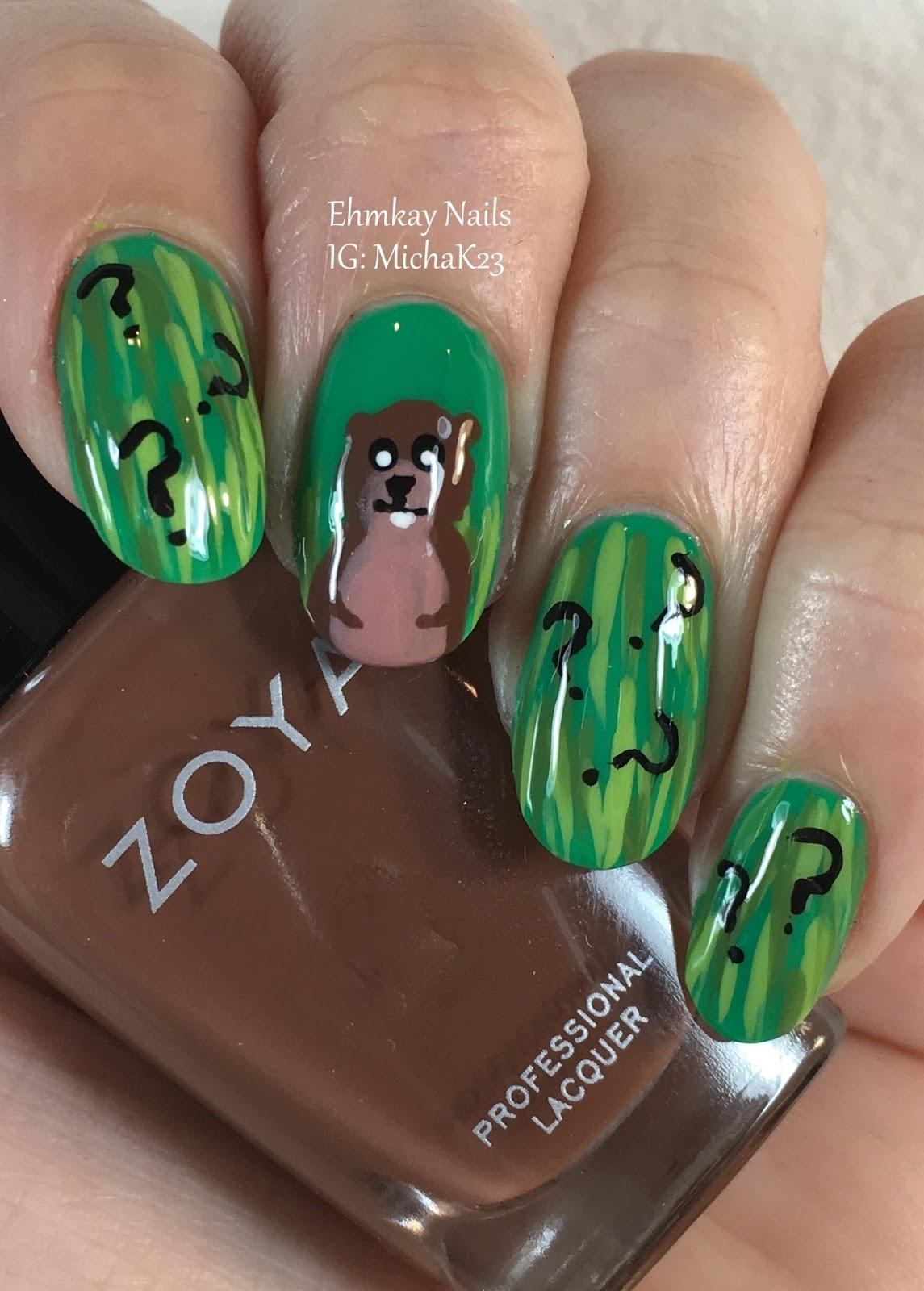 Ehmkay Nails New Year S Eve Nail Art With Kbshimmer Bling: Ehmkay Nails: Punxsutawney Phil Groundhog Day Nail Art