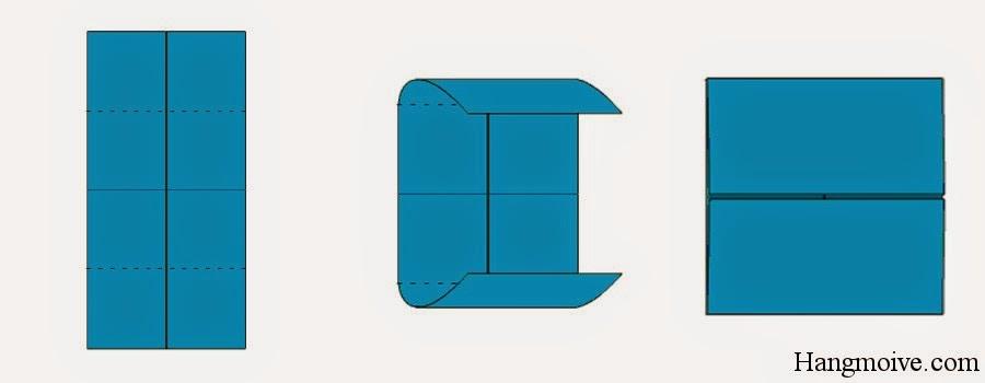 Bước 5: Gấp 2 mép ngoài của hình chữ nhật lại với nhau sao cho mép cạnh của chúng chạm vào nhau tại tâm giữa của hình chữ nhât. Sau đó ta lại mở ra. Mục đích để tạo thành các nếp gấp.