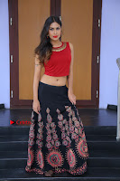 Telugu Actress Nishi Ganda Stills in Red Blouse and Black Skirt at Tik Tak Telugu Movie Audio Launch .COM 0192.JPG