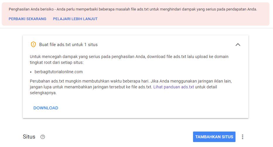 Cara Memasang dan Validasi ads.txt AdSense Blogger