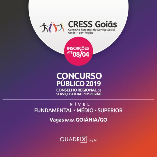 Concurso CRESS-GO abre inscrições com vagas em Goiânia