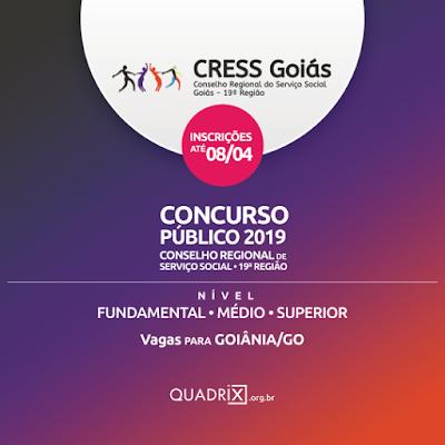 CRESS de Goiás abre inscrições de concurso com vagas em Goiânia