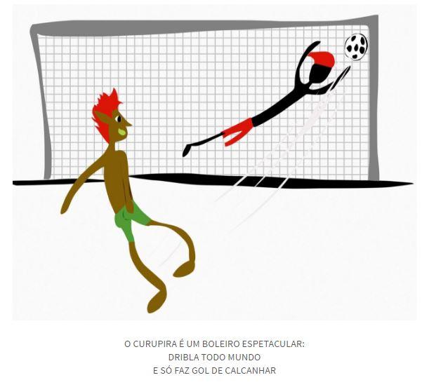 """Poema infantil ilustrado: """"O Curupira é um boleiro espetacular / Dribla todo mundo / E só faz gol de calcanhar"""""""
