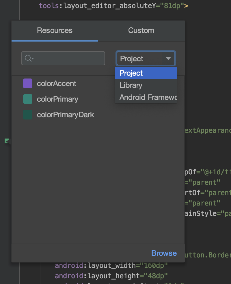 Color picker resource tab