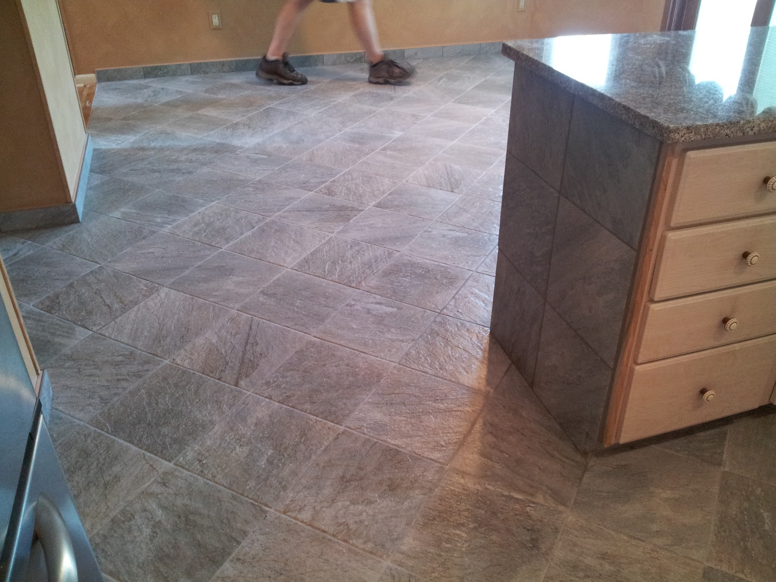 Floor installation photos slate looking porcelain tile in for Dining room tile floor designs