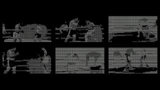 """Le combat du siècle n'a pas eu lieu… est une vidéo, qui trouve son origine dans un documentaire datant de 1970, """"The SuperFight - Ali vs. Marciano"""" mettant en scène les deux champions américains dans un match de boxe pour lequel une machine détermina le vainqueur… À partir d'une analyse des données des deux boxeurs, Hank Kaplan (directeur technique de ce projet) tente via un ordinateur, de désigner qui remportera ce match de boxe... Cette simulation informatique a permis de réaliser un """"documentaire fiction"""" sur la rencontre entre deux monstres sacrés de la boxe mondiale et de faire naitre ce projet d'un """"réel"""" combat du siècle…malheureusement Marciano meurt dans un accident d'avion et le combat du siècle n' a pu avoir lieu ! Ainsi de ce simulacre de combat (filmé et chorégraphié), je n'ai conservé que, le temps d'un round, quelques actions furtives, qui ont été """"calculées"""" par ordinateur pour ne représenter qu'une trace (informatique), sous la forme d'un codage ASCII…"""