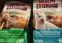 Two bags of Dog food labelled healthy extentsion.
