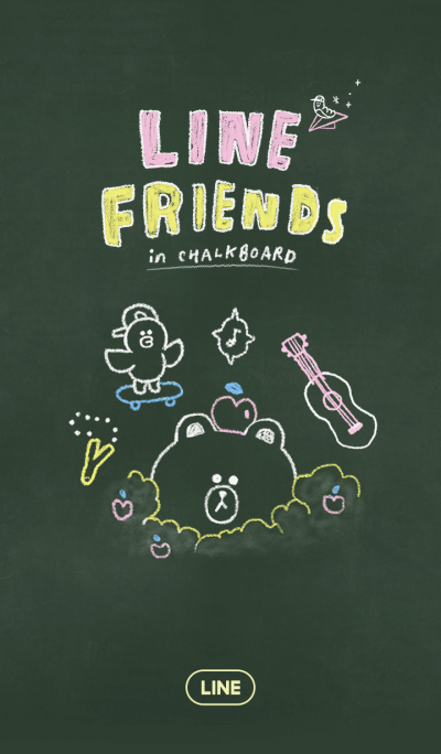 LINE FRIENDS in black board