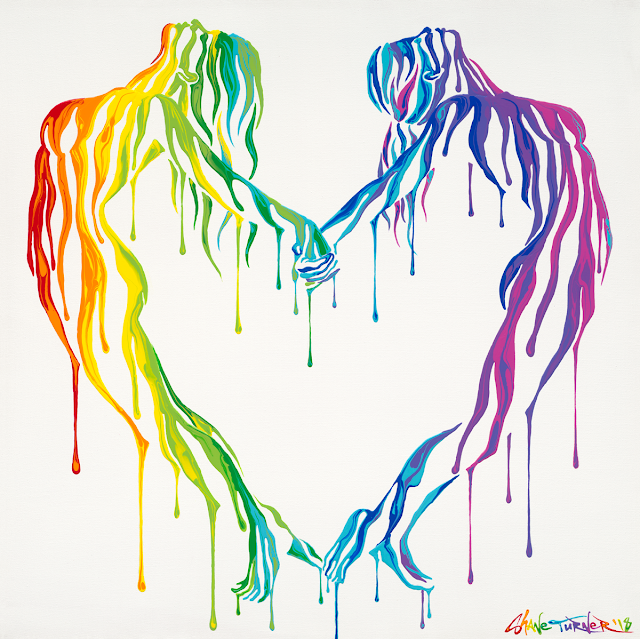 Acrylic painting of two women doing a yoga pose holding hands to form a heart shape. Surreal figures are invisible covered in rainbow colored dripping paint in honor of lgbtq pride month 2018.