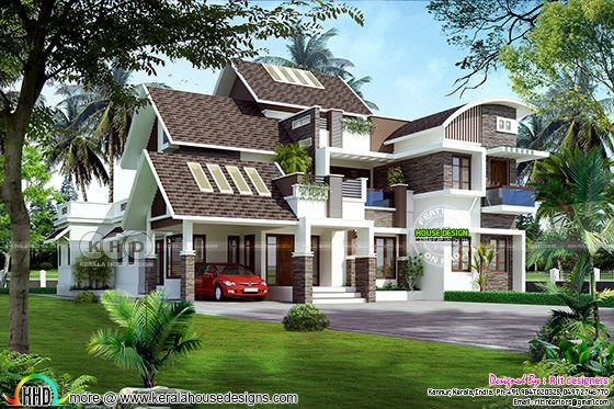 5 bedroom mix rood Kerala contemporary home