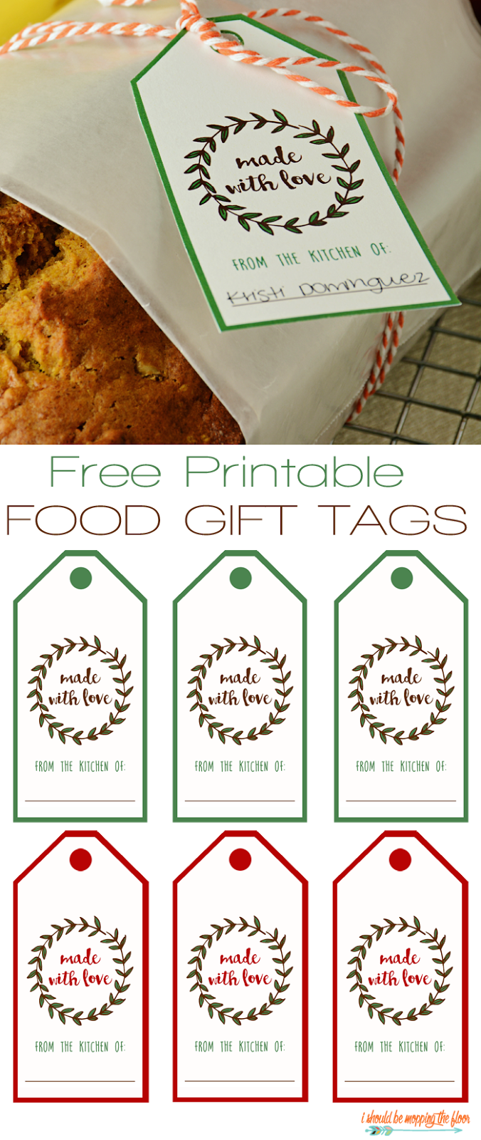 Free Printable Food Gift Tags | Two color options | Just print and attach to a yummy treat.