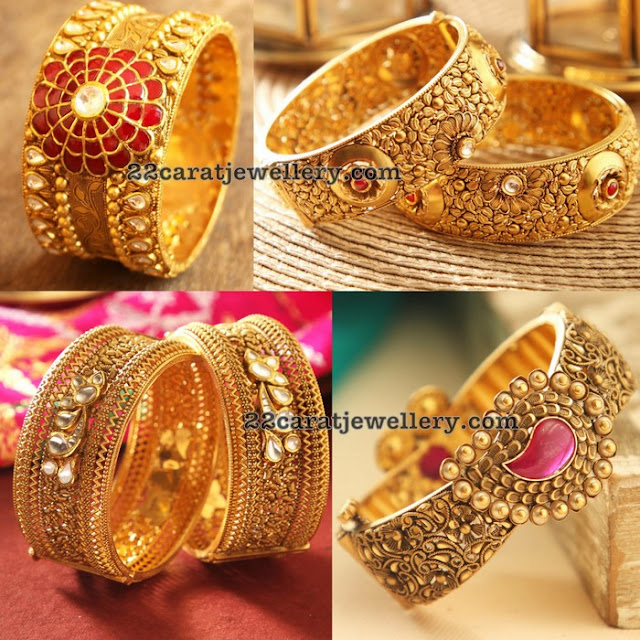 Antique Broad Bangles by Manubhai Jewellers