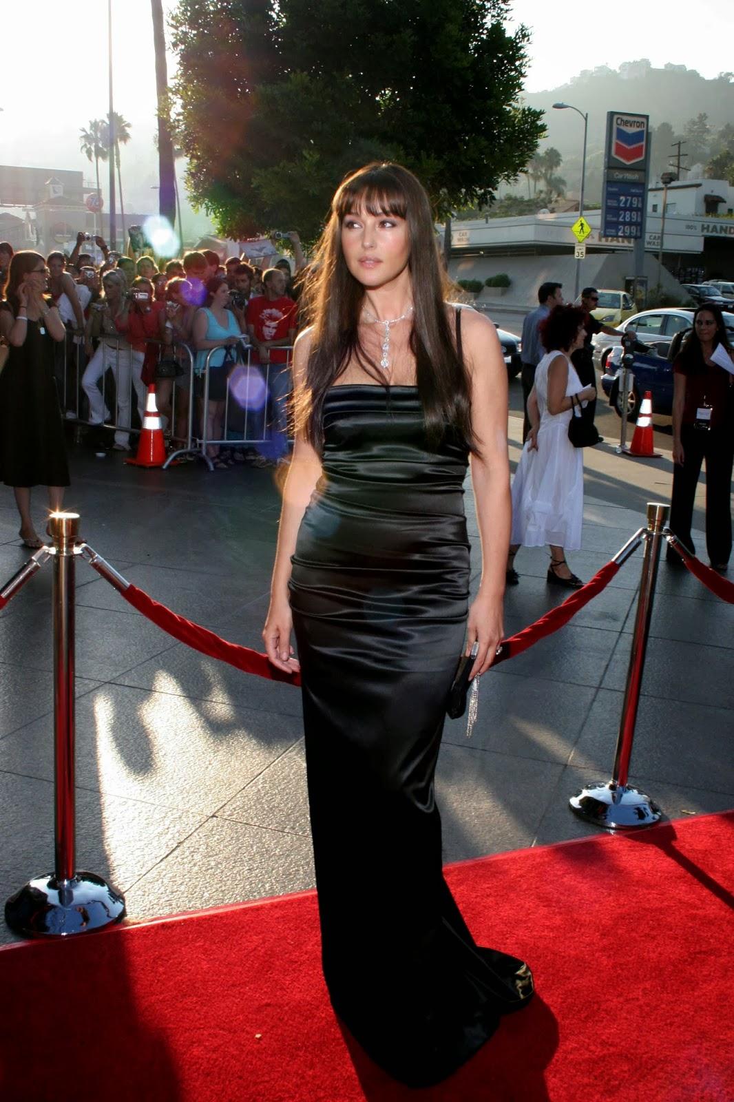 Ladies In Satin Blouses Monica Bellucci Black Satin Dress