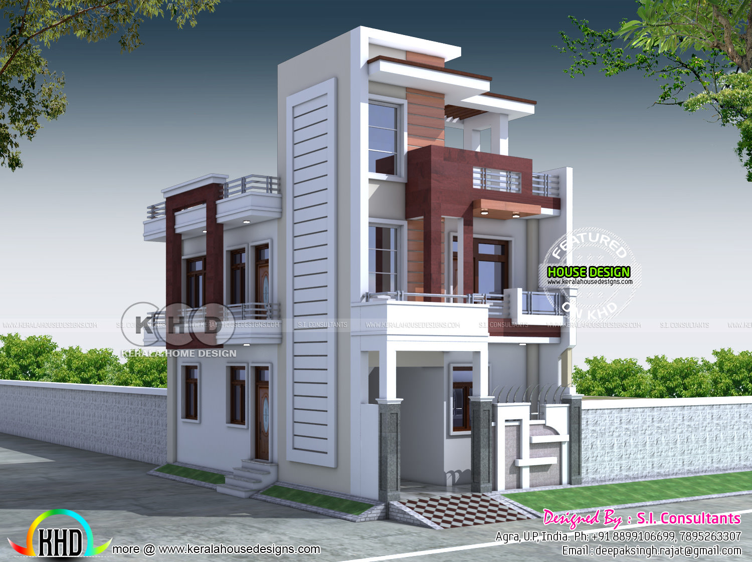 Front Elevation Design For 3bhk : Contemporary indian home design kerala