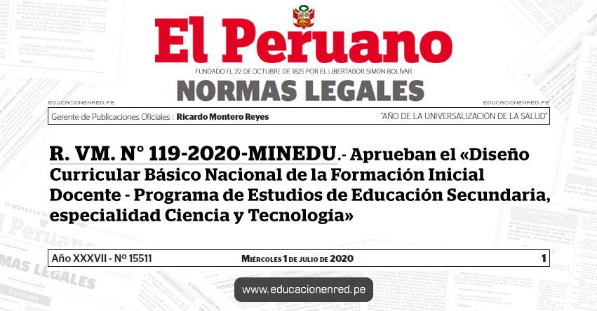 R. VM. N° 119-2020-MINEDU.- Aprueban el «Diseño Curricular Básico Nacional de la Formación Inicial Docente - Programa de Estudios de Educación Secundaria, especialidad Ciencia y Tecnología»