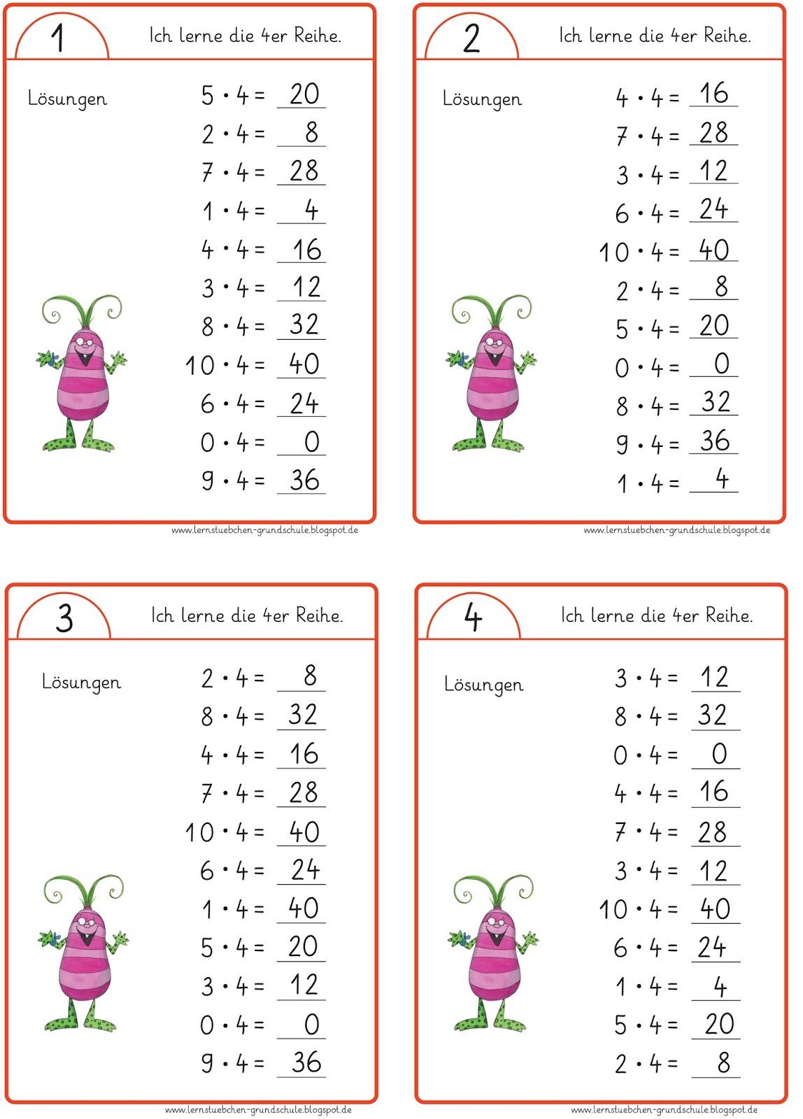 Lernstu00fcbchen: Minikartei zum Einmaleins - Lu00f6sungen