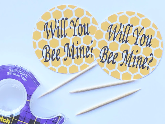 Will You Bee Mine Valentine Cupcake Topper