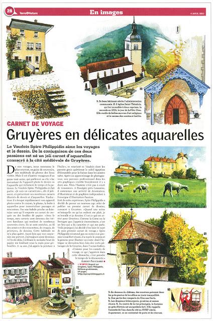 Article paru le 4 Avril 2013, aprè la publication de mon livre Regard sur Gruyères, paru en decembre 2013