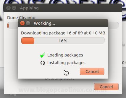 O Resetter está fazendo o download dos pacotes que estão em falta no seu sistema