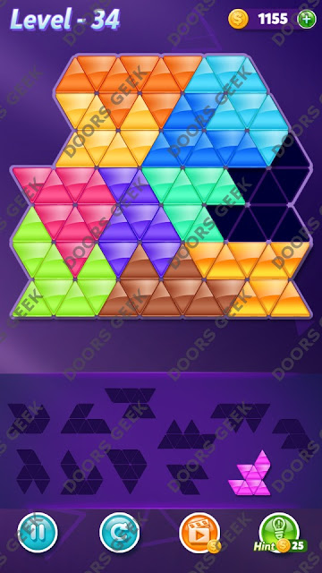Block! Triangle Puzzle Challenger Level 34 Solution, Cheats, Walkthrough for Android, iPhone, iPad and iPod
