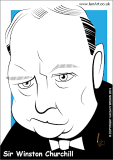 Sir Winston Churchill caricature by Ian Davy Brown