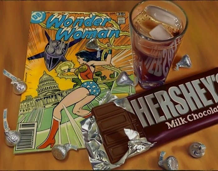 09-Wonder-Woman-and-Hershey-s-Doug-Bloodworth-Vintage-Comics-in-Hyper-Realistic-Painting-www-designstack-co