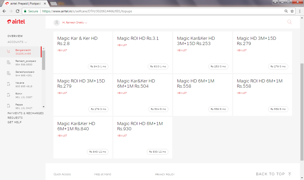 Airtel DTH Magic HD Top up offer - 31 Channels at Rs 3 1 per day