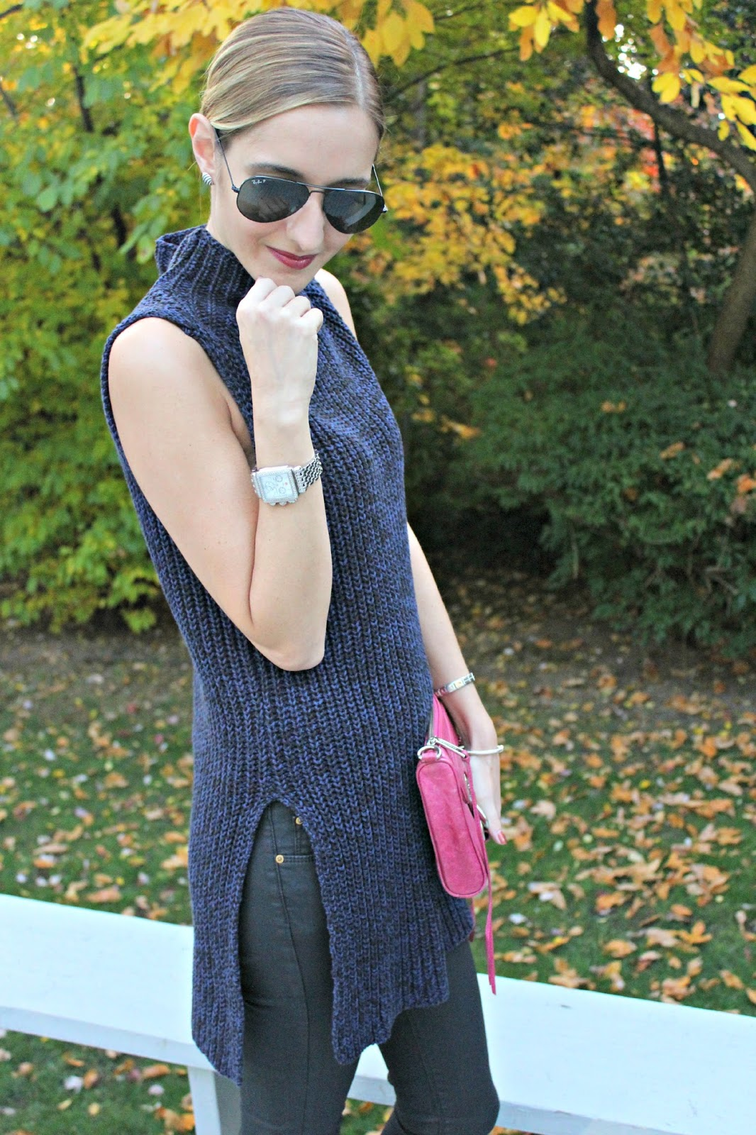 sleeveless navy sweater