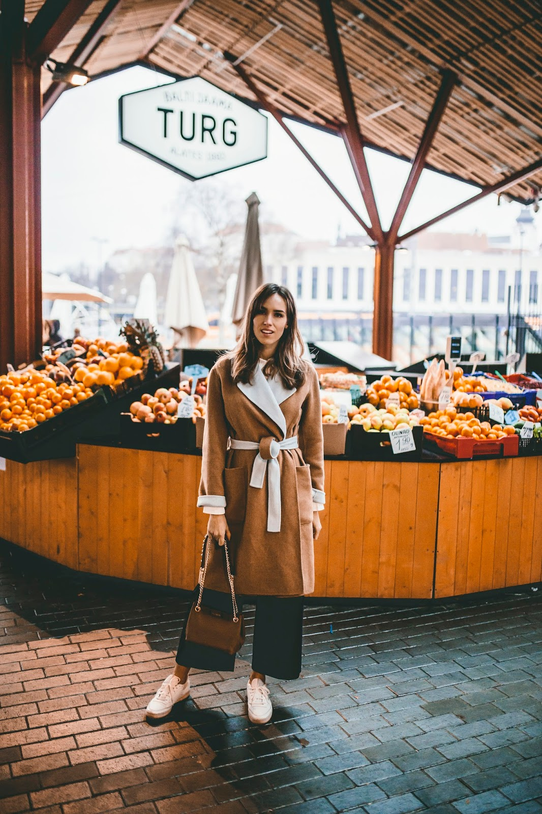 camel coat cord trousers outfit