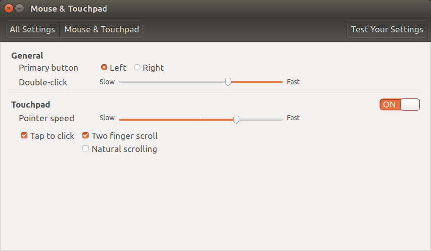 Mouse and touchpad settings.