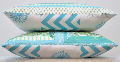 Pretty Patchwork Quilted Pillow Covers | Mitered Corners | © Saltwater Quilts 2013