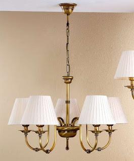 lampara de techo 5 brazos dorada