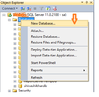 Create New Database in Sql