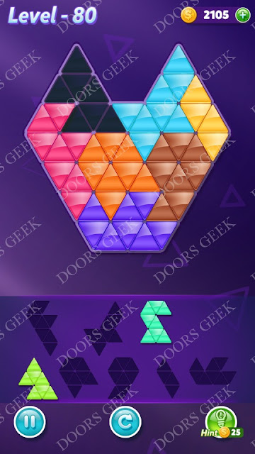 Block! Triangle Puzzle Advanced Level 80 Solution, Cheats, Walkthrough for Android, iPhone, iPad and iPod