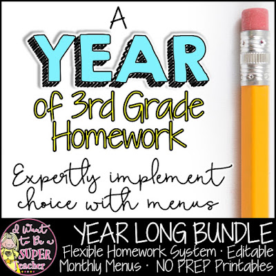 Ready to try something new for homework?  A YEAR of Third Grade Homework gives you access to homework menus and printables for the ENTIRE school year!