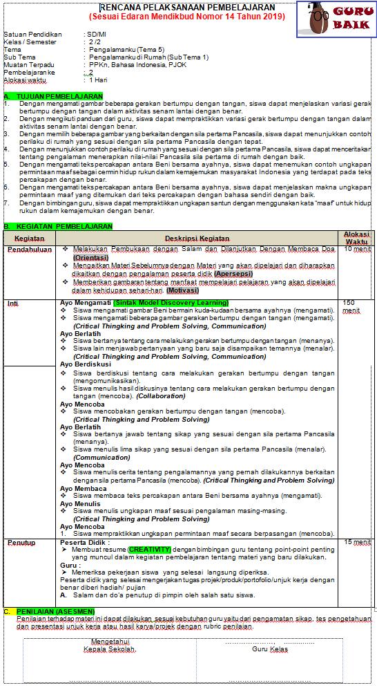 RPp kelas 2 semester 2 tema 5 sesuai edaran mendikbud terbaru