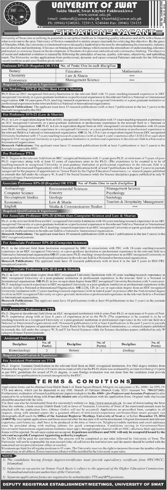 Careers in University of Swat khyber Pakhtunkhwa