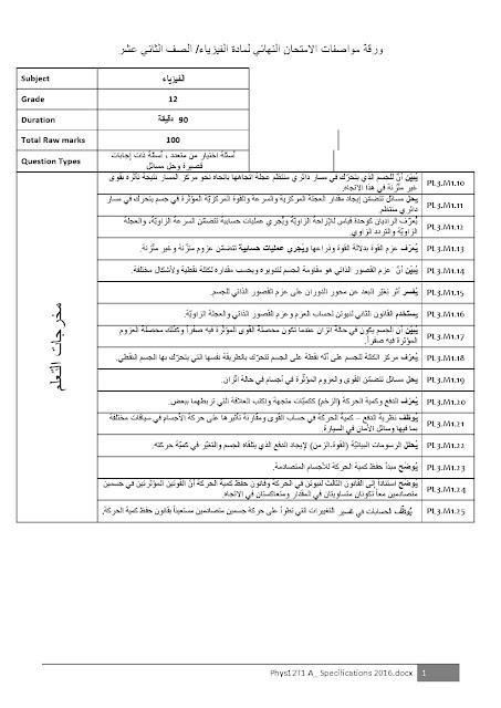ورقة مواصفات الامتحان النهائي الفصل الأول في الفيزياء الصف الثاني عشر 2016-2017