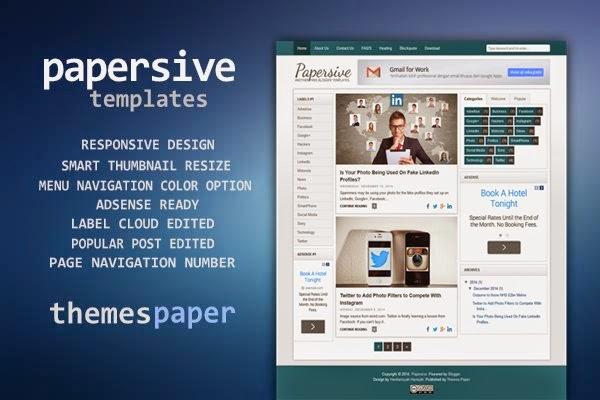 Template blog responsive terbaru, papersive