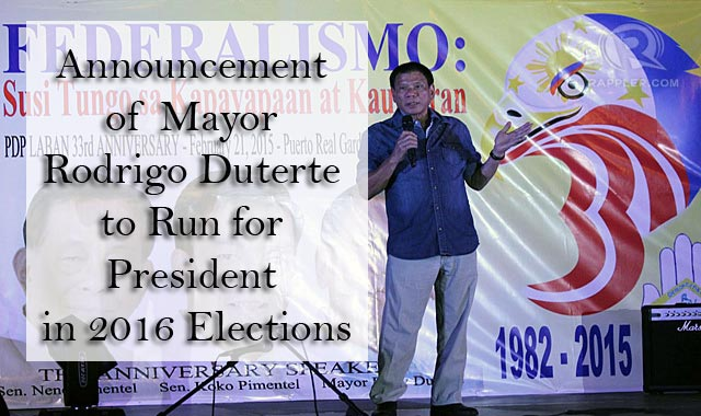 Announcement of Mayor Rodrigo Duterte to Run for President in 2016 Elections
