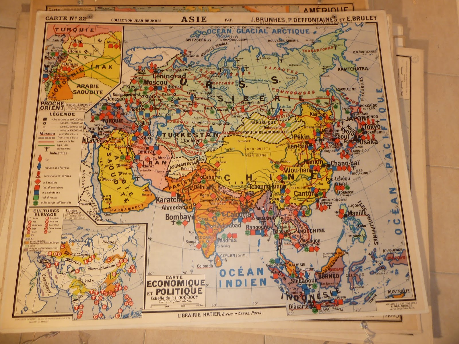 Map Of Asia In French.Vintage French Posters Botany Animals Anatomy Old World Maps From