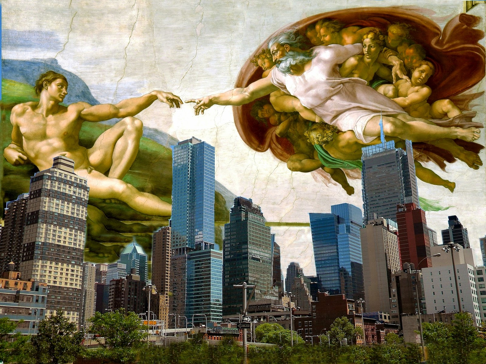 Sistine Chapel, fresco Michelangelo Hands of God and Adam ...