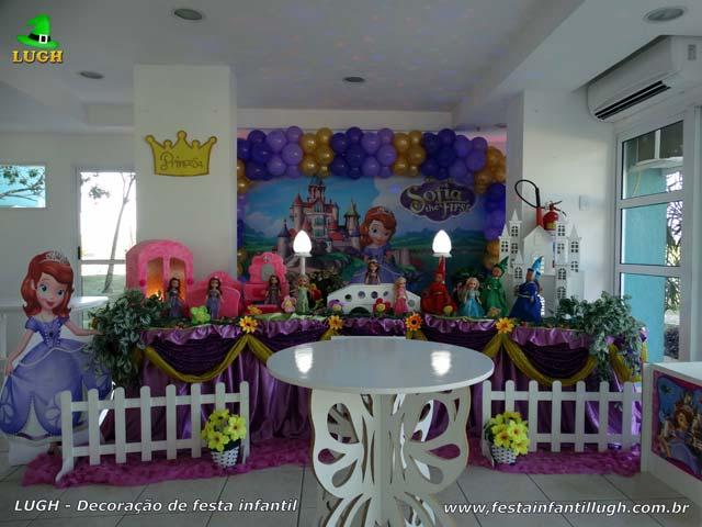 Decoração mesa luxo de tecido tema Princesa Sofia - Aniversário feminino
