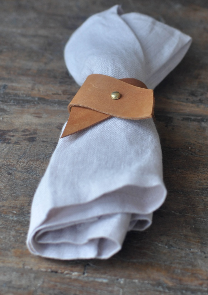 perfectly elegant DIY Leather Napkin Rings, made of just 2 materials