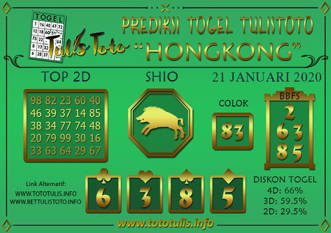 Prediksi Togel HONGKONG TULISTOTO 21 JANUARI 2020