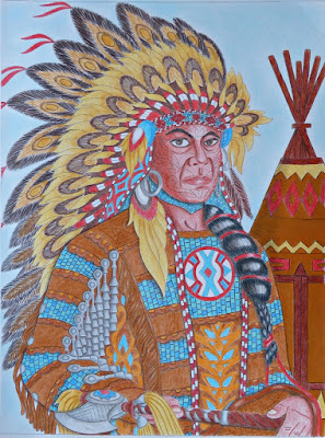 Adult coloring: Native American portrait