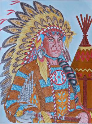 Adult coloring: Native American portrait