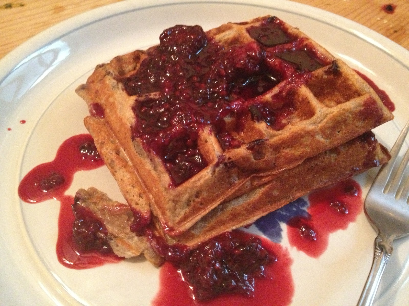 All You Eat Is Vegetables?: Orange Waffles With Blackberry